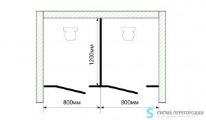 Сантехнические Перегородки 25мм из ЛДСП – 2 кабины (вариант 2)