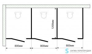 Сантехнические Перегородки 12мм из HPL – 3 кабины (вариант 2)